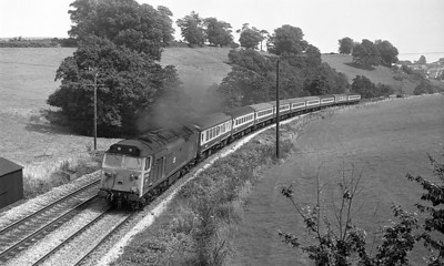 50047 climbs away from Totnes with a Plymouth bound service. After refurbishment 50047 would be named 'Swiftsure'. Summer 1977.