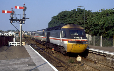 43076 'BBC East Midlands Today' heads a Penzance bound service into St. Erth. August 1994.