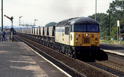 56079 passes Barnetby with a Scunthorpe to Immingham empty MGR. 16th September 1992.