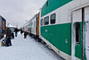 Ontario Northland Railway passenger train the Polar Bear Express brought GO transit bilevel 2423 to Moosonee on 2011 December 7th. This was an experimental run to determine the suitability of using cars of this type for the Moosonee train while its regular cars are being refurbished. Power for the train was GP38-2's 1801 and 1806.