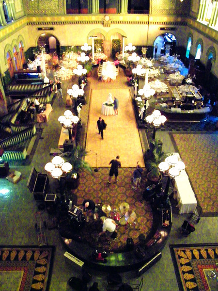 Preparations for an evening wedding reception were underway on the first level of the massive and impressive great hall of the old station when I talked staff into letting us ride an old elevator up to the mezzanine for a good view down and around.