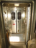 Now looking aft - the the closed Viewliner door - from just ahead of the baggage car main compartment door.  The Viewliner vestibule woulda made a pretty good photo outpost but for the windows that were beyond filthy.