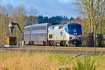 Locomotive 193, pulling Amtrak Cascades 510, has reversed direction around the tight six-degree curve at PA junction in Everett and is now heading north towards Delta yard and Vancouver, B.C.
