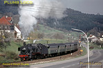 Seen from my bedroom window at the Fremdenzimmer in which I was staying, P8 4-6-0 No. 038 382-8 starts away from Laufen station up the 1 in 48 gradient towards Lautlingen with N4300, the 04:35 Tübingen to Ebingen and Sigmaringen stopping passenger train on the morning of Thursday 7th May 1970. Note the total lack of fencing along the line! Slide No. 4999.