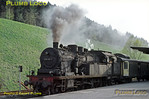 4-6-4T No.078 482-7 has lost the extension to its chimney but is still making plenty of smoke as it waits at Horb station to work a train to Tübingen. 064 519-2, which had arrived shortly before with a train from Tübingen, has gone to the depot to turn and then double-headed with the 078. Tuesday 5th May 1970. Slide No. 4916.