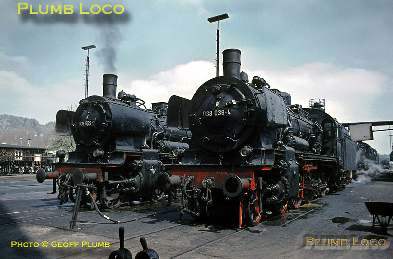 After I was given permission to take photographs at Tübingen locomotive depot, these two Prussian P8 4-6-0s made a lovely subject for my camera. Tübingen depot was unusual in Germany as it was a straight shed, most depots being roundhouses, so these engines are stabled on parallel roads. Several P8s were still active in this area and some, as here, were well looked-after. Wednesday 6th May 1970. Slide No. 4960.