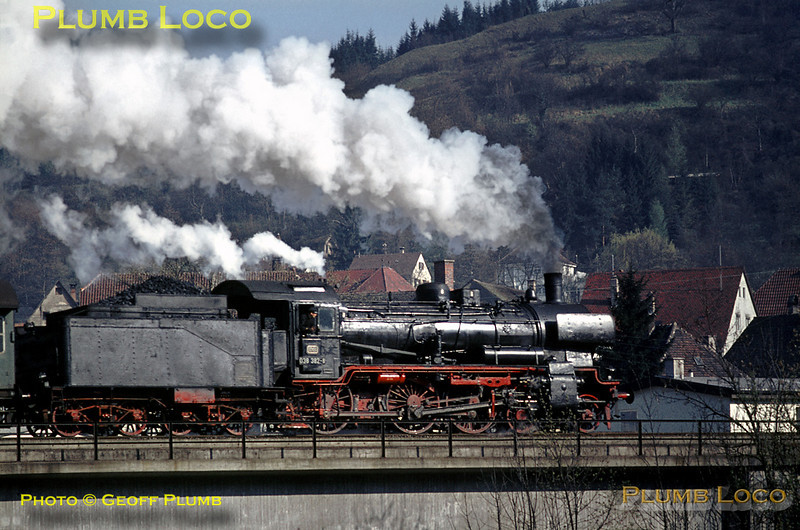 Ex-Prussian P8 Class 4-6-0, DB series 38, No. 038 382-8 crossing the bridge over the River Neckar as it pulls away from Horb with the 08:00 train to Freiburg, Tuesday 5th May 1970. Slide No. 4878.
