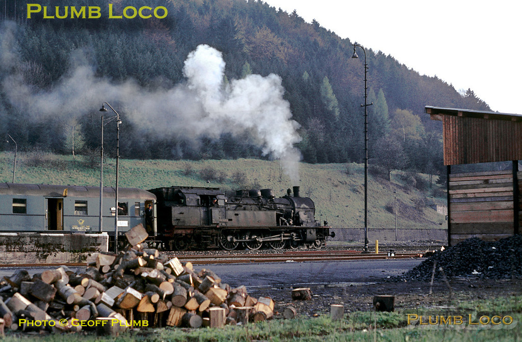 Ex-Prussian T18 class 4-6-4T (DR & DB Class 78) No. 078 246-6 shunts a postal coach at Horb station to add to the train it is about to take south to Rottweil on the evening of Tuesday 5th May 1970. Slide No. 4927.