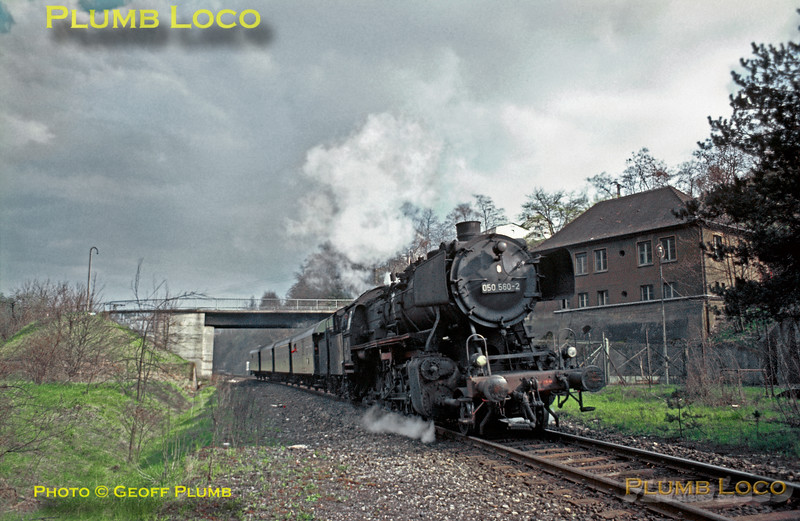050 560-2 appears again on what was quite a busy diagram! Having been turned and serviced at the shed at Rottweil, it is now in charge of another local passenger train returning to Horb and Tübingen, here approaching the girder bridge over the River Neckar. Monday 4th May 1970. Slide No. 4859.