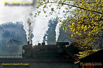 There is still a bit of early morning mist around as Prussian P8 4-6-0 No. 038 382-8 stands on the bridge over the River Neckar at Horb, awaiting the arrival of a train from Tübingen. This train split at Horb, half continuing south to Rottweil while this engine backed onto the rest of the train and departed northwards at 08:00 to Freudenstadt and Freiburg. Tuesday 5th May 1970. Slide No. 4873.