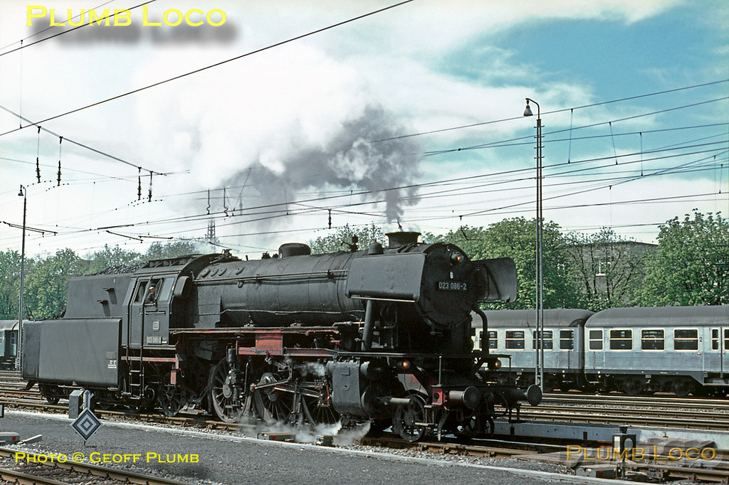 2-6-2 No. 023 086-2 at Ulm Hbf, having just arrived light engine from the shed, prior to taking out a train to Aalen. Saturday 9th May 1970. Slide No. 5087.