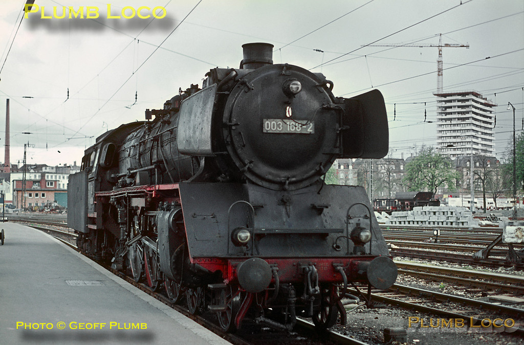03 class 4-6-2 No. 003 168-2 gets ready to take out an evening passenger train from Ulm to Schelklingen on the line to Sigmaringen, Friday 8th May 1970. Slide No. 5052.