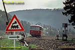 An Uerdingen two-car railbus approaches a minor road crossing between Mühlen and Horb with another passenger working from Tübingen, Monday 4th May 1970. Slide No. 4822.