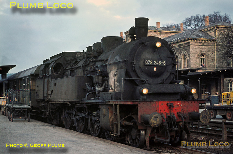 078 246-6 has arrived back at Rottweil with its train from Villingen as the sun goes down, Monday 4th May 1970. Slide No. 4871.