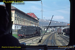 View from the front of the Uerdingen railbus as it enters Albstadt-Ebingen, the summit of the line between Tübingen and Sigmaringen. 2-10-0 No. 051 771-4 is doing some shunting and the yard is full of wagons. Wednesday 6th May 1970. Slide No. 4991.