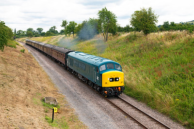 45149 passes the aqueduct at Stanton with 2C63 12.03 Laverton to Cheltenham Racecourse. Sunday 31st July 2016.