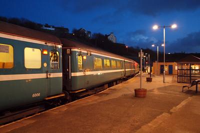 The ex-Anglia Railways Mk. 2F stock at Whitehaven on 2T21. 23/01/12.