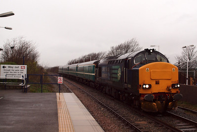 37423 waits for the right away at Ravenglass. 04/01/12.