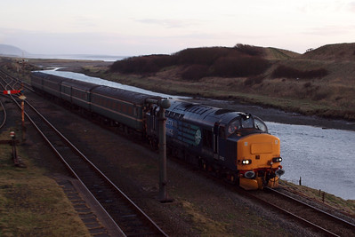 5T21 Barrow CS - Sellafield arrives at its destination with 37423 Spirit of the Lakes at the helm. 23/01/12.