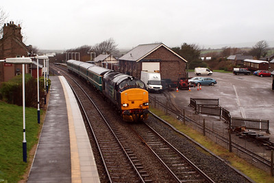 37423 gets underway from Ravenglass, bound for Barrow. 04/01/12.