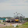 EWS 66187 with the 6C79 16:41 Immingham-Scunthorpe loaded EWS coal hoppers passes through Wrawby Junction.