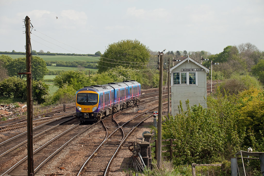 185 111 forms a First Transpennine Express service approaching Barnetby.