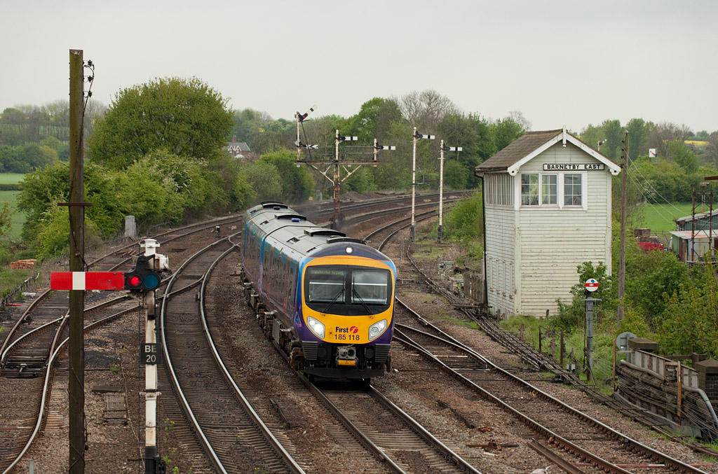185 118 forms a First Transpennine Express in Barnetby East.