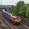 EWS 92009 with an intermodal passes through Ashford, Kent.