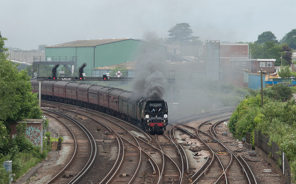 """Tangmere"" with a steam special in Ashford, Kent."