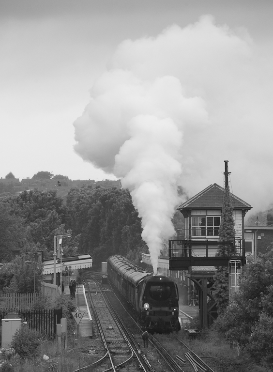 """Tangmere"" with a steam special in Canterbury East, Kent."