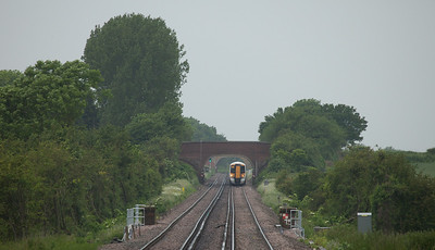 Southeastern Trains 375 622 approaching Charing, Kent.