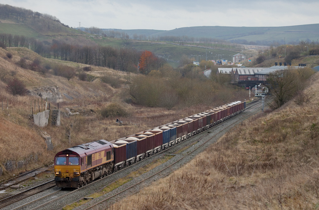 EWS 66150 with rock train between Great Rocks Jct. and Peak Forest South.