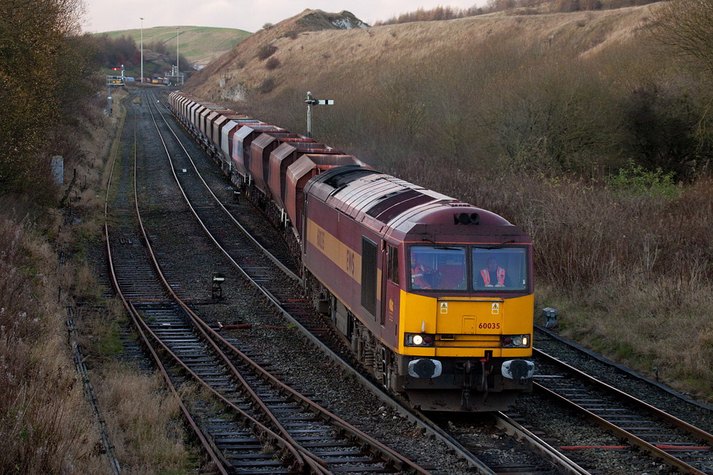 EWS 60035 with rock train to Tunstead Works in Great Rocks Jct.