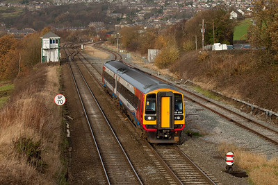 East Midlands 158 856 in New Mills South Jct.