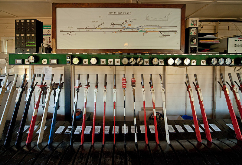 Lever frame inside Great Rocks Jct. signal box.