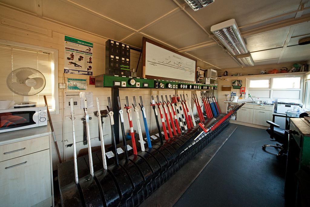 Inside Great Rocks Jct. signal box.