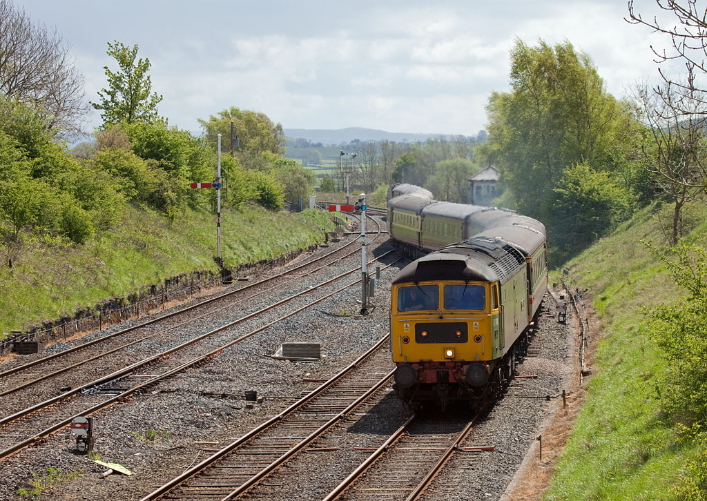 """D1648 and another class 47 """"top and tail"""" with a special train in Settle Jct."""