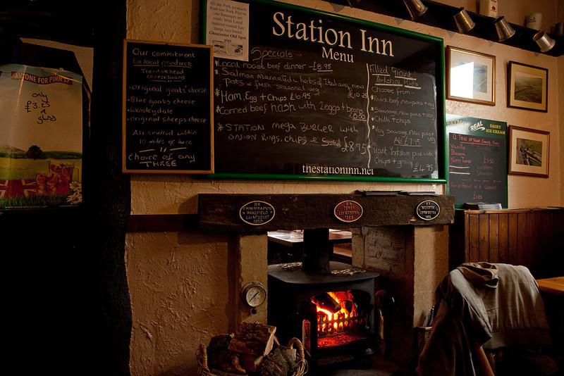 Menu and stove, Ribblehead Station Inn.