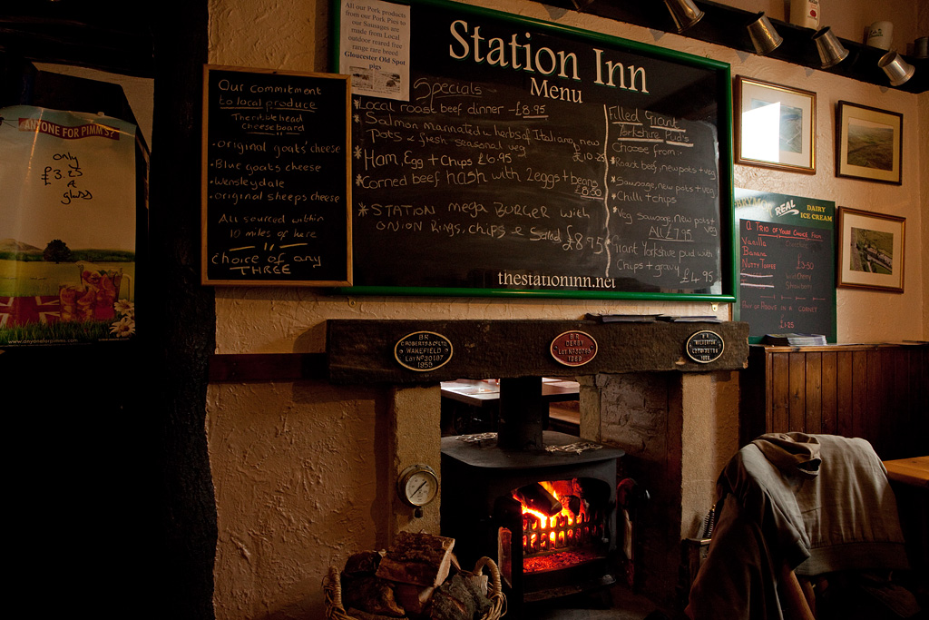 Menu and stove, Ribblehead Station Inn.