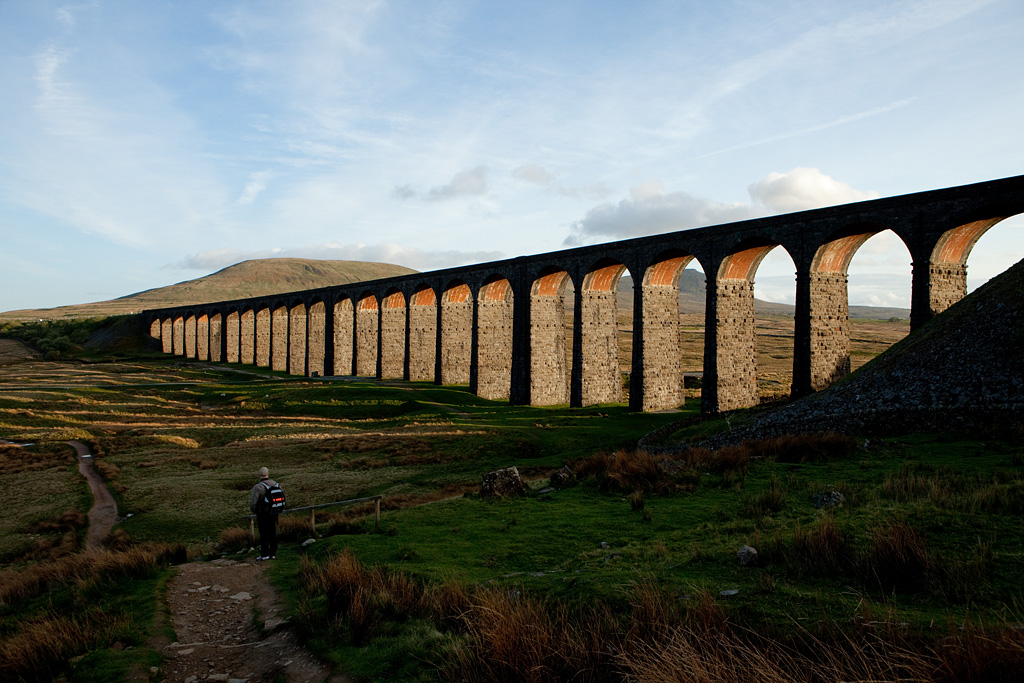 Ribblehead Viaduct in the evening light.