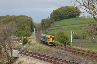 158 791 bound for Carlisle in Settle Jct.