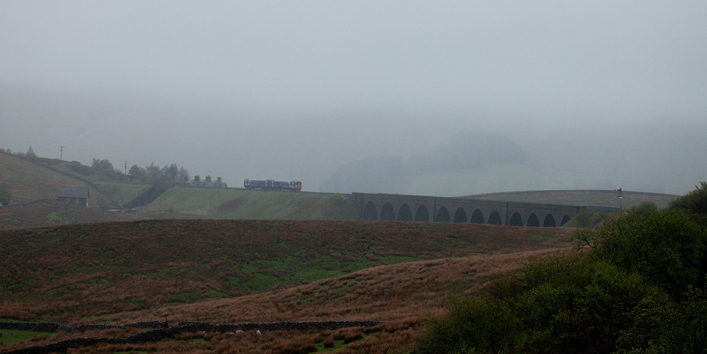 DMU on Moorcock Viaduct near Garsdale.