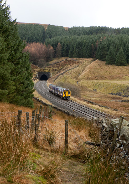 158 830 exiting Blea Moor Tunnel.