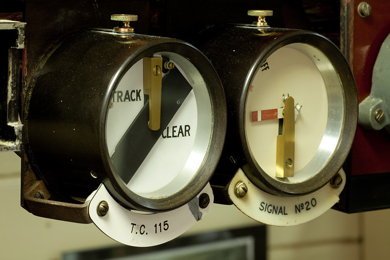 Garsdale signal box track circuit and signal position indicators.