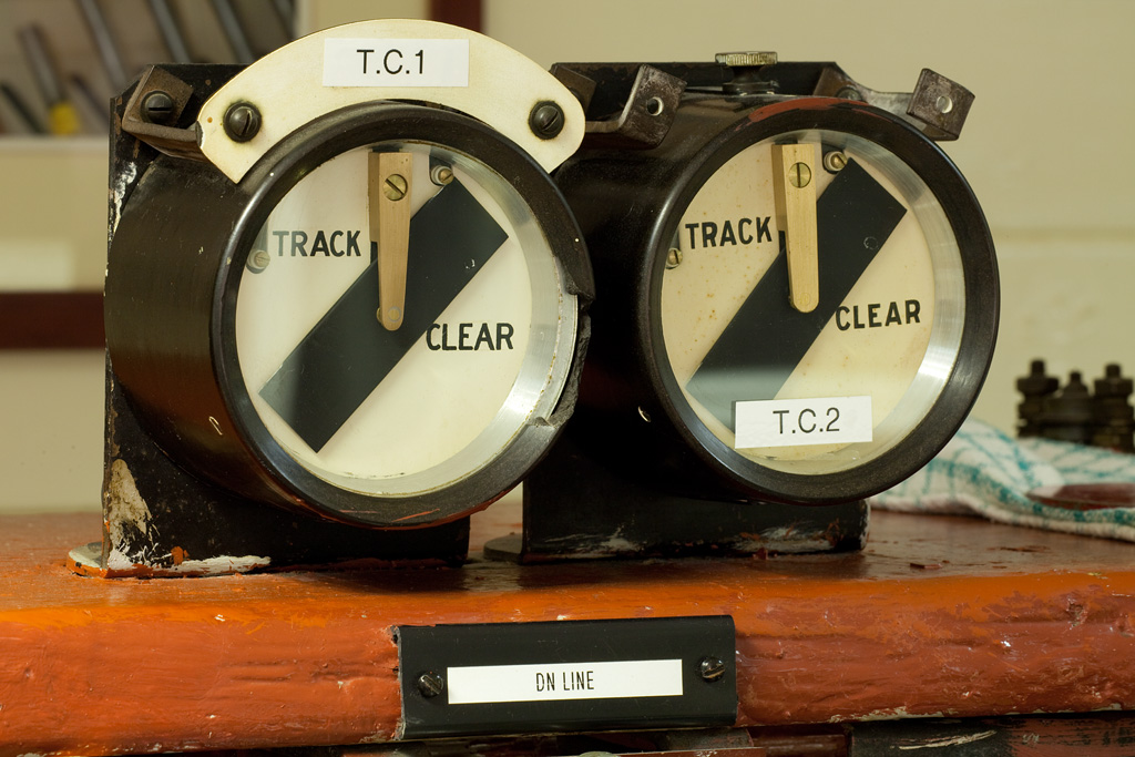 Garsdale signal box track circuit indicators.