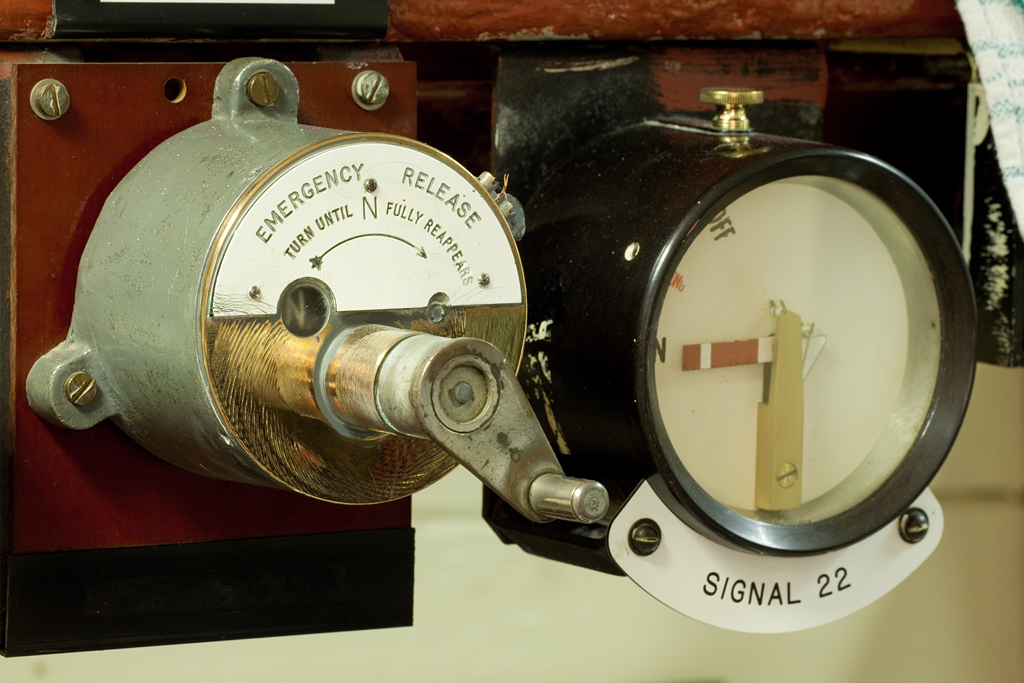 Garsdale signal box emergency release and signal position indicator.