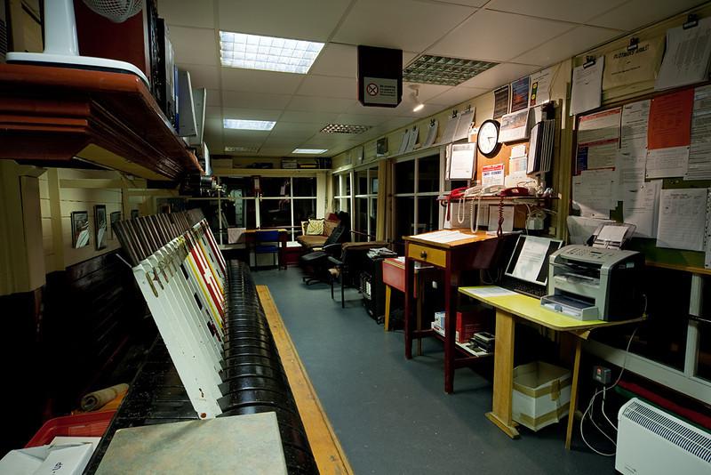 Inside Garsdale signal box.