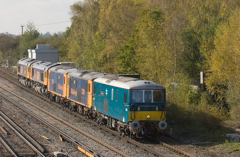 """GBrf 73136 """"Perseverance"""" with 73209, 73205, 66703, 66701 in Worting Junction"""