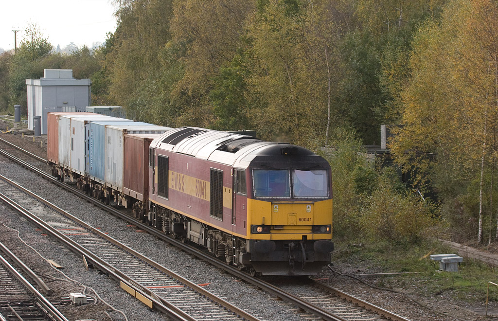 EWS 60041 with the 6V38 11:39 Marchwood - Didcot Yard MoD stores in Worting Junction.