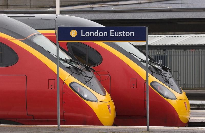 Virgin Express Pendolinos in London Euston station.